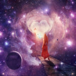 Artistic abstract digital beautiful young woman in a red dress walking on a wood way towards a galactic other world,illustration painting